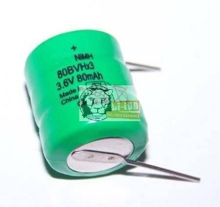 80BVH3A4H Speicherbatterie mit 2 Plattenschenkel 3,6 V 80mAh Ni-Mh