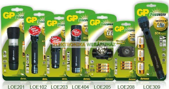 GP LED fejlámpa LOE205 + 3 x AAA GP Ultra elem