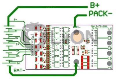 BMS - e-bike 7S 24V védelmi elektronika balancerrel