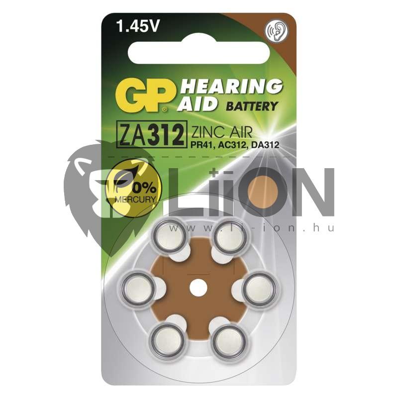 GP ZA312 hallókészülék gombelem